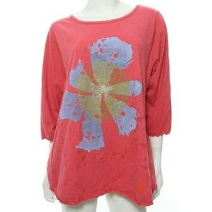 Blue Fish Women's 1 Coral Pink Floral Top Tee Boxy